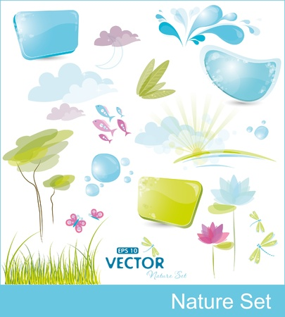 Set of nature elements, vector illustration, eps-10 Illustration