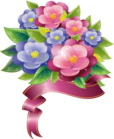 Floral design with violet and ribbon, vector illustration, eps-10