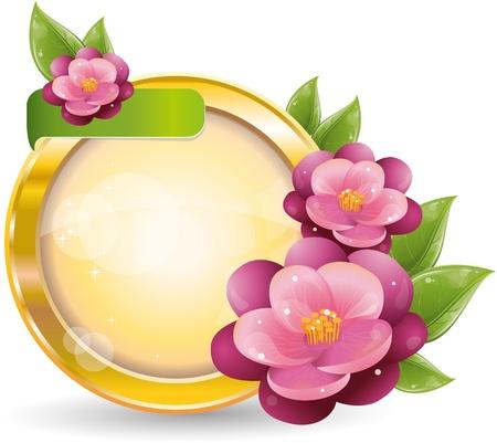 Gold circle frame with violet flowers, vector illustration, eps-10