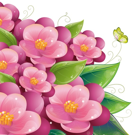 pink flower: Floral design with violet, vetor illustration, eps-10