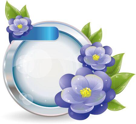 silver circle: Cornice del cerchio con fiori viola in argento, vector illustration, eps-10