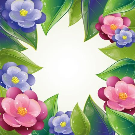 Spring leaves and violet frame, vector illustration, eps-10 Vector
