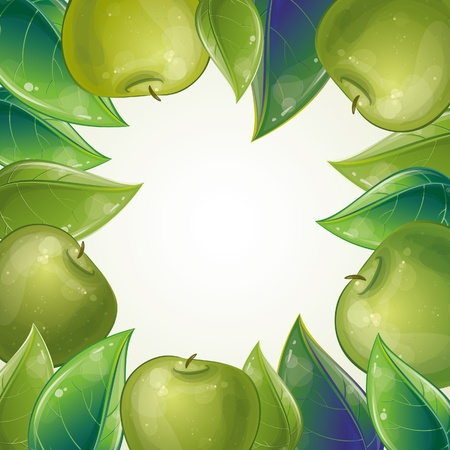 Leaves and green apple frame, vector illustration, eps-10 Vector