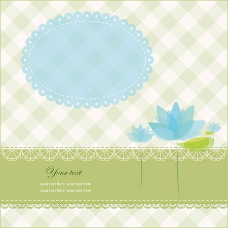 Greeting card with copy space and water lily, vector illustration, eps-10