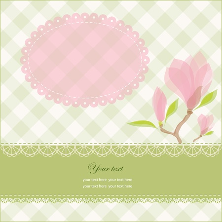 Greeting card with copy space and pink magnolia flowers, vector illustration, eps-10 Stock Vector - 9722076