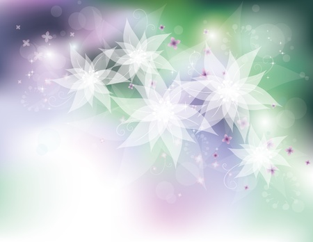 White flowers, vector illustration, contain gradient mesh, eps-10 Stock Vector - 9720678