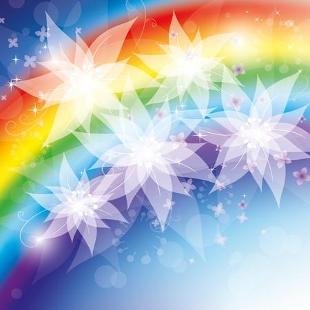 arco iris vector: Flores de arco iris, ilustraci�n vectorial, contienen malla de degradado, eps-10