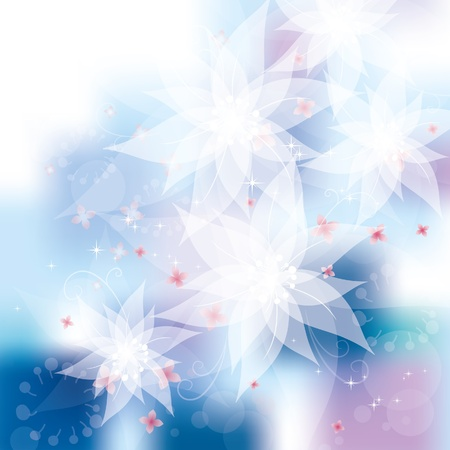 White flowers, vector illustration, contain gradient mesh, eps-10 Vector