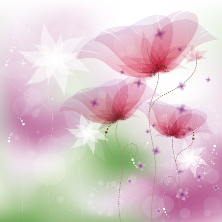 Pink poppies, vector illustration, contain gradient mesh, eps-10