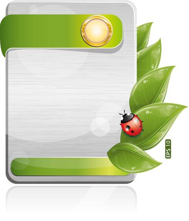Metal form with green leaf and ladybug, vector illustration, eps-10 Stock Vector - 9722085
