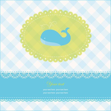 Greeting card with copy space and blue whale, vector illustration, eps-10 Vector
