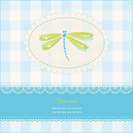 Greeting card with copy space and dragonfly, vector illustration, eps-10