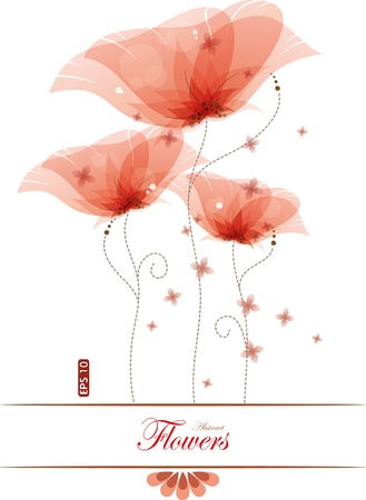 Red poppies, vector illustration, contain gradient mesh, eps-10 Vector