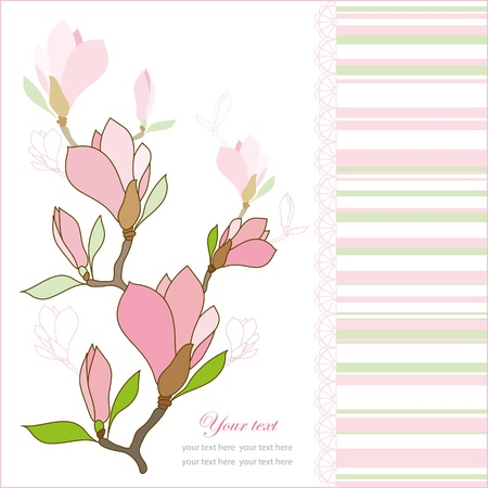 Greeting card with pink magnolia flowers, vector illustration Stock Vector - 9720665