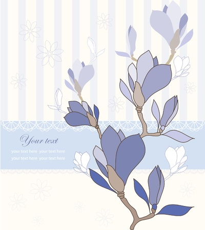 sample text: Greeting card with violet magnolia flowers, vector illustration