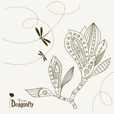 east indian: Dragonfly and Abstract Magnolia Flower wiht pattern, vector illustration