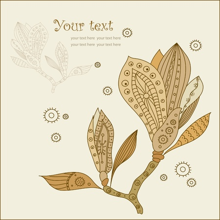 magnolia flower: Dragonfly and Abstract Magnolia Flower wiht pattern, vector illustration
