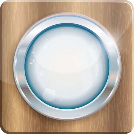 silver circle: Silver circle frame on wood plank, vector illustration
