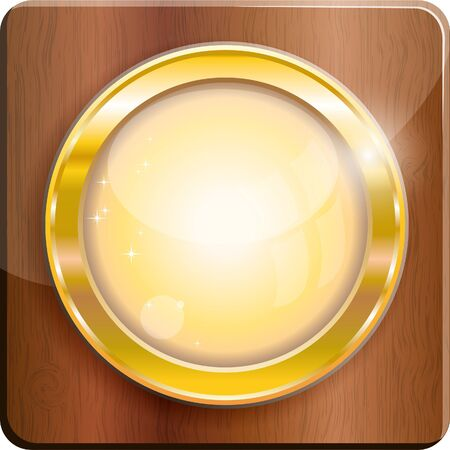 mahagoni: Gold circle frame on wood plank, vector illustration