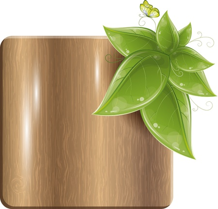 plywood: Wood plank with green leaves and butterfly, vector illustration