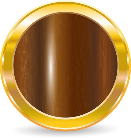 mahagoni: Gold circle frame with wood texture, vector illustration