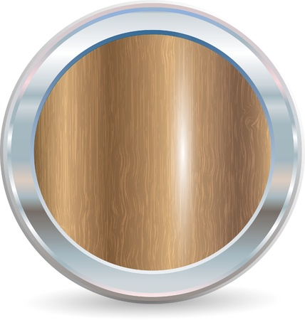 silver circle: Silver circle frame with wood texture, vector illustration