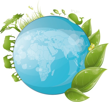 Round nature design with green leaf and globe, vector illustration, eps-10