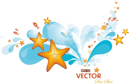 Design with water spray and sea-stars Vector