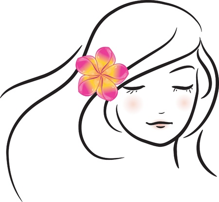 Girl with pink frangipani flower (sketch), vector illustration