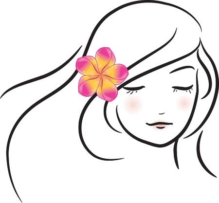 sketch: Meisje met roze frangipani bloem (schets), vector illustratie