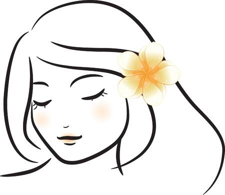 bocetos de personas: Chica con la ilustraci�n de flores blancas frangipani Vectores