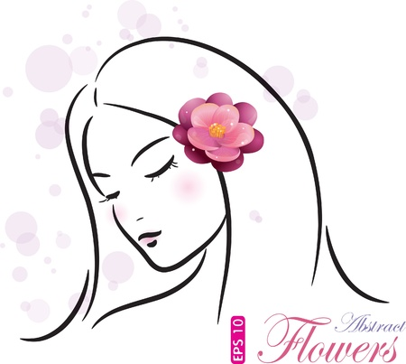 sensuality: Girl with pink flower (sketch), vector illustration