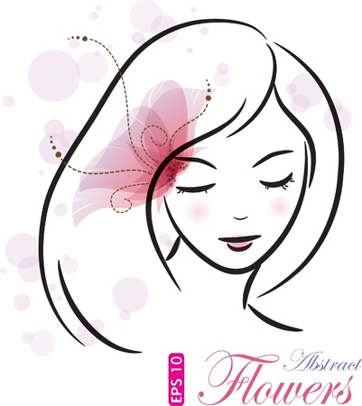 Girl with pink flower (sketch), vector illustration