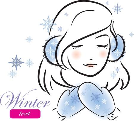 caritas pintadas: Invierno niña con guantes y orejeras (croquis), ilustración vectorial