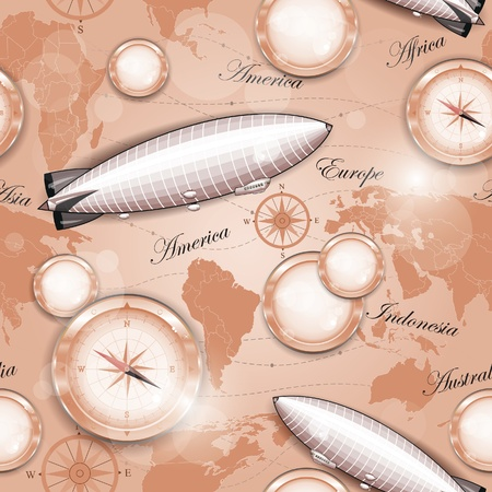 Seamless pattern - Map of the world, dirigible and compass, vector illustration, eps-10 Vector