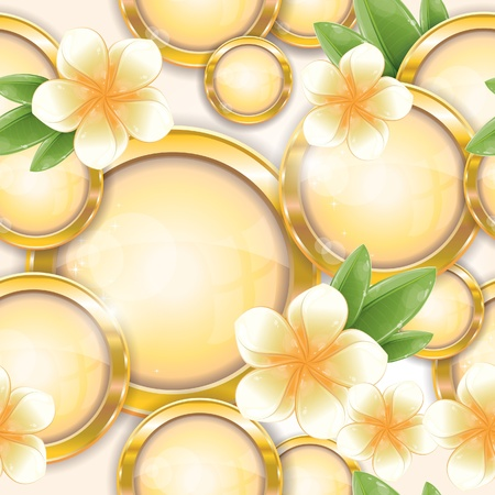 Seamless pattern - Gold circle frames with white frangipani flower, vector illustration, eps-10 Vector