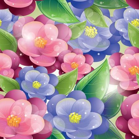 Naadloze patroon - Violet bloemen, vector illustratie, eps-10