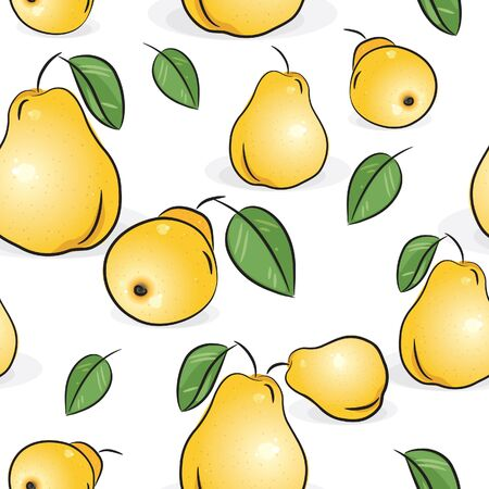 fruitage: Seamless pattern - Yellow pears, isolated on white, vector illustration