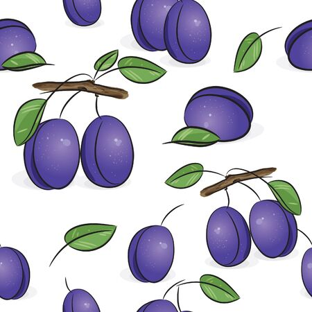 fabric samples: Seamless pattern - Violet plum, isolated on white, vector illustration