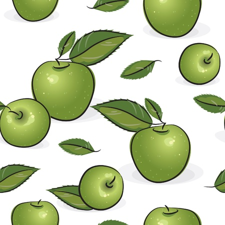fruit stem: Seamless pattern - Green apples, isolated on white, vector illustration