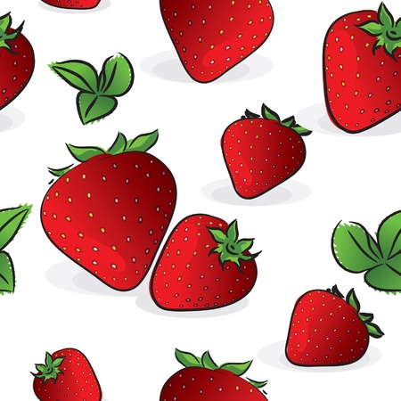 fabric samples: Seamless pattern - Strawberry, isolated on white, vector illustration Illustration