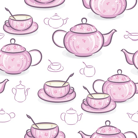 teapot: Seamless wallpaper - Teapot and cup, vector illustration