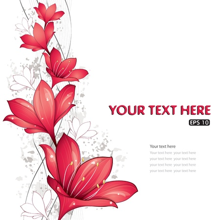 floral abstract: Red lilies design, vector illustration