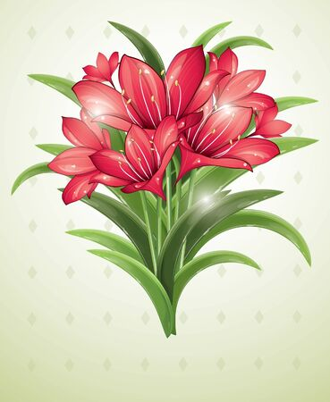 blooms: Bunch of red lilies, vector illustration, eps-10 Illustration
