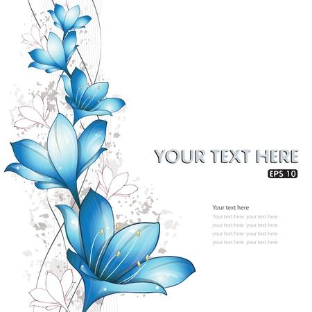 lirio blanco: Lirios dise�o azul, ilustraci�n vectorial, EPS-10