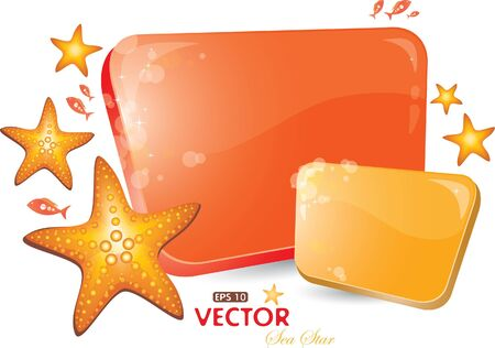 seastar: Red and orenge form with sea-star, vector illustration, eps-10