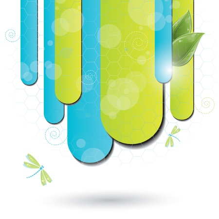 Blue and green background with dragonfly, vector illustration. eps-10