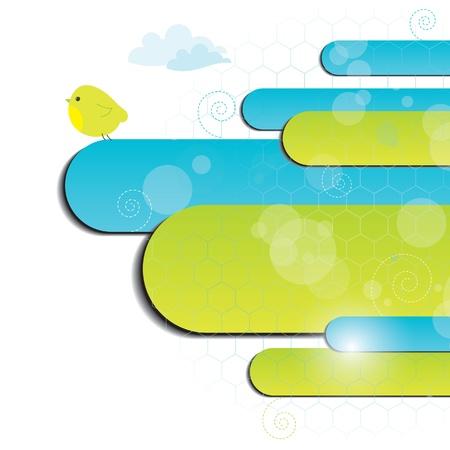 Blauwe en groene achtergrond met vogel, vector illustratie. eps-10