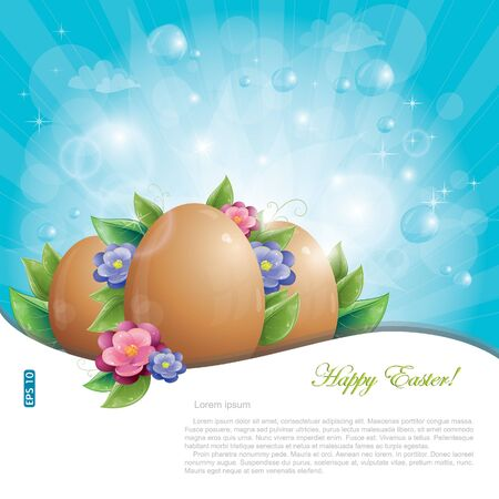 Easter eggs with green leaves and flowers against blue sky, vector illustration, eps-10 Vector