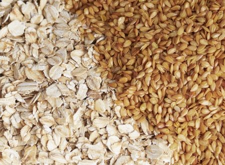 oatmeal and flaxseed close up background Stock Photo - 8940605